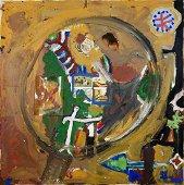 A. R. PENCK (1939 - 2017) DIE LUPE acrilico, collage e