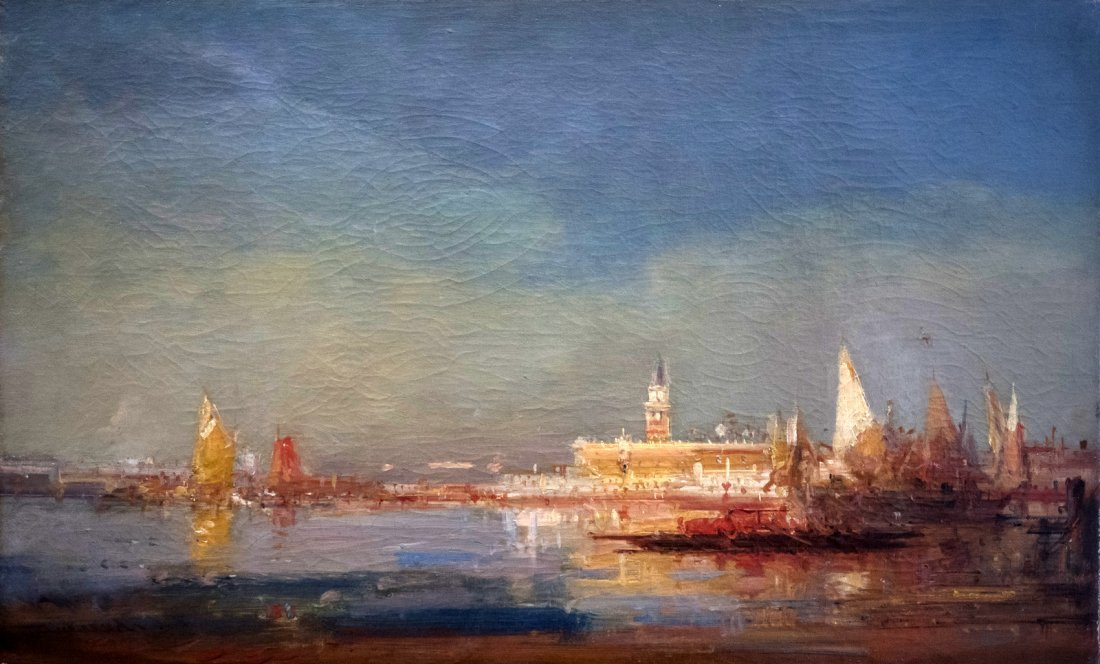 HENRY DUVIEUX (1855-1890/1902)A  vessel in Venice
