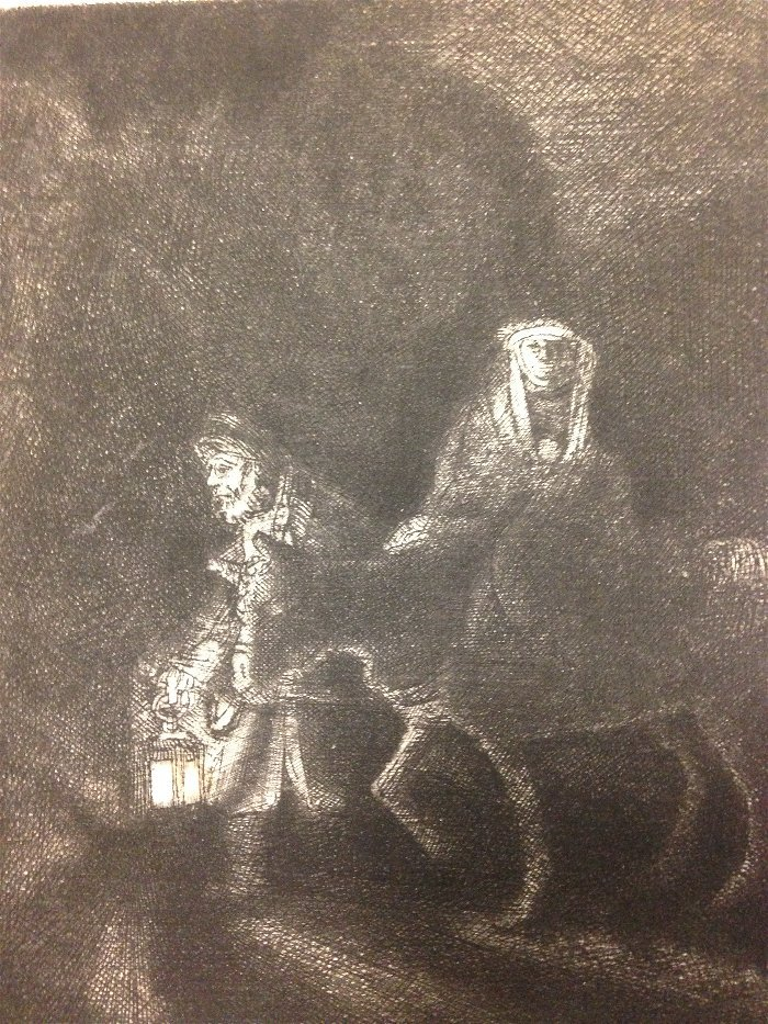 The Flight Into Egypt. A Night Piece. REMBRANDT PRINT