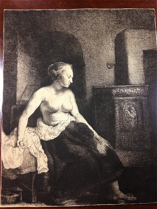 Woman Sitting Half-Dressed beside a Stove. REMBRANDT