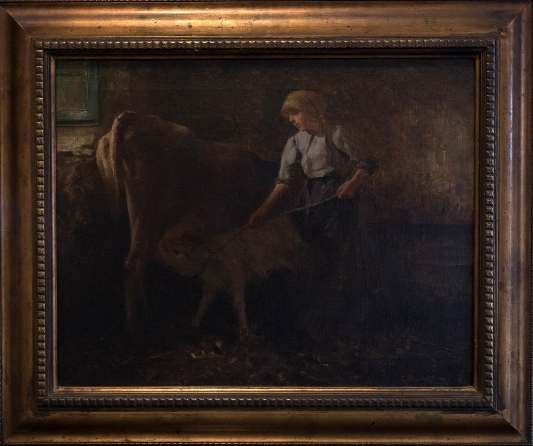 GIUSEPPE MAGNI (1869-1956)Cow and the Calf.