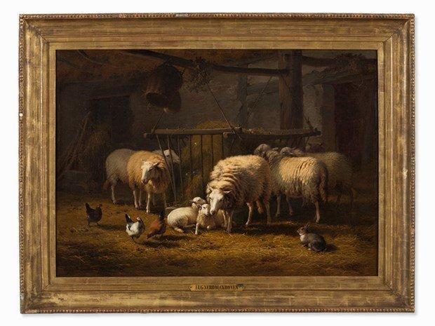 EUGENE VERBOECKHOVEN (1799-1881) Sheep in the Barn