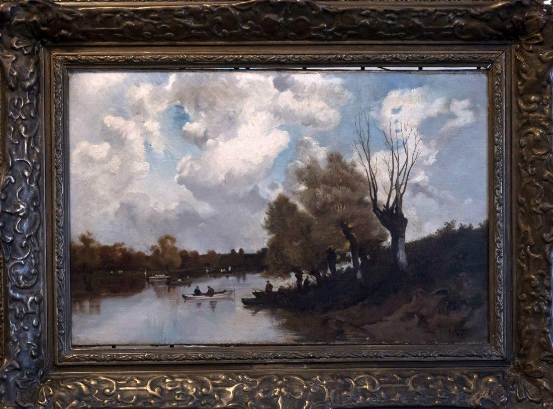 EUGENE CICERI (1813-1890) Partie de canotage a la Marne