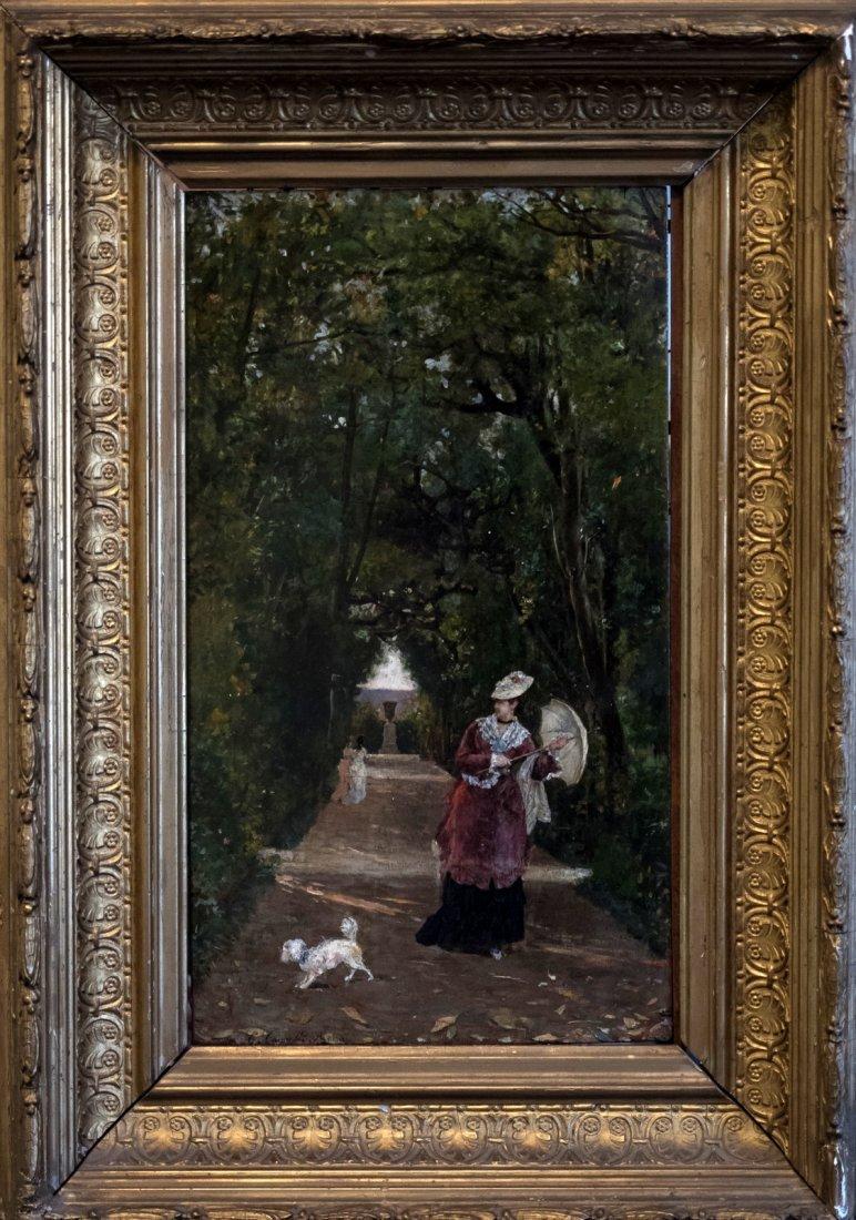 CESARE CAROSELLI (1847-1927) Walking the Dog