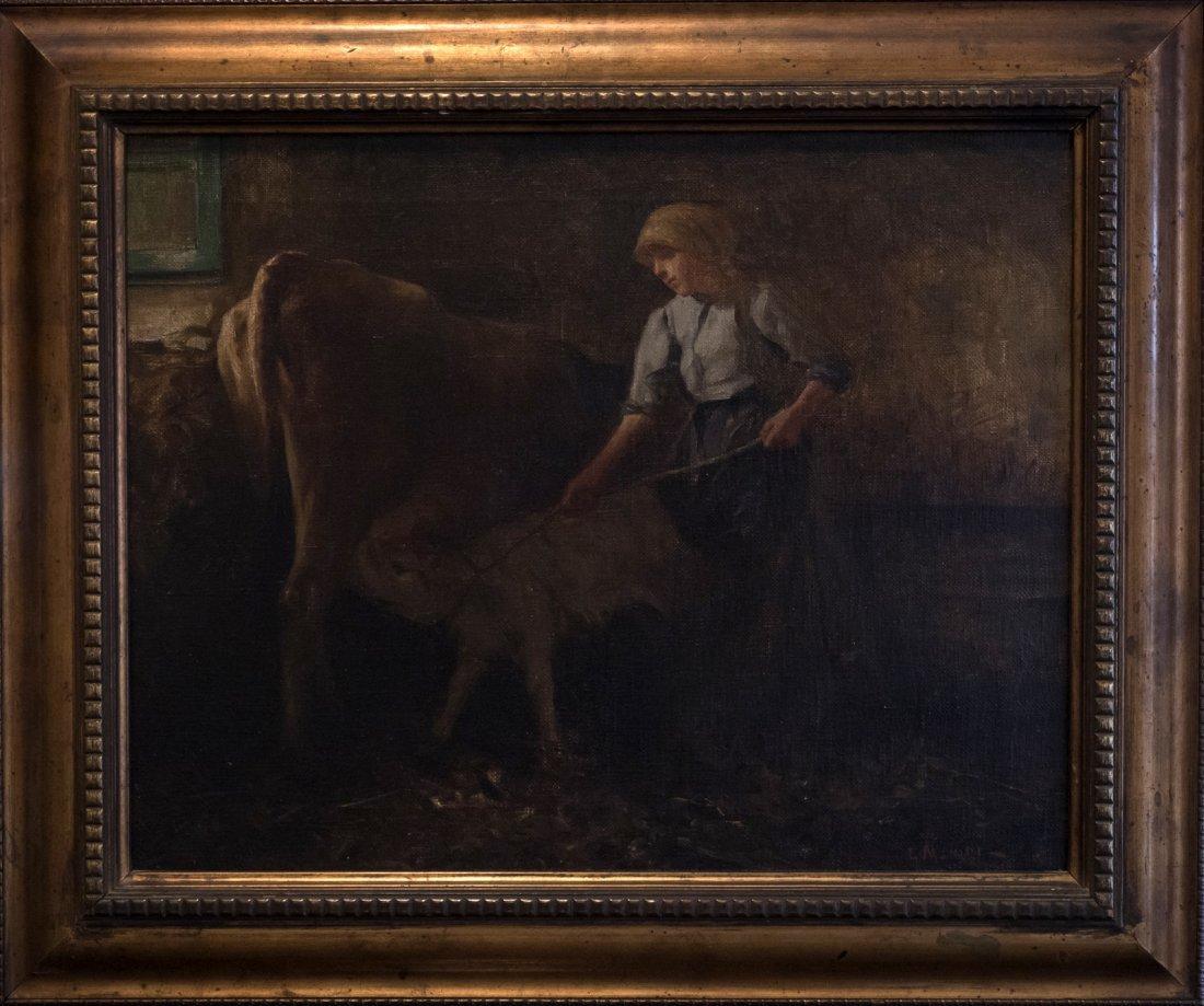 GIUSEPPE MAGNI (1869-1956)Cow and the Calf.