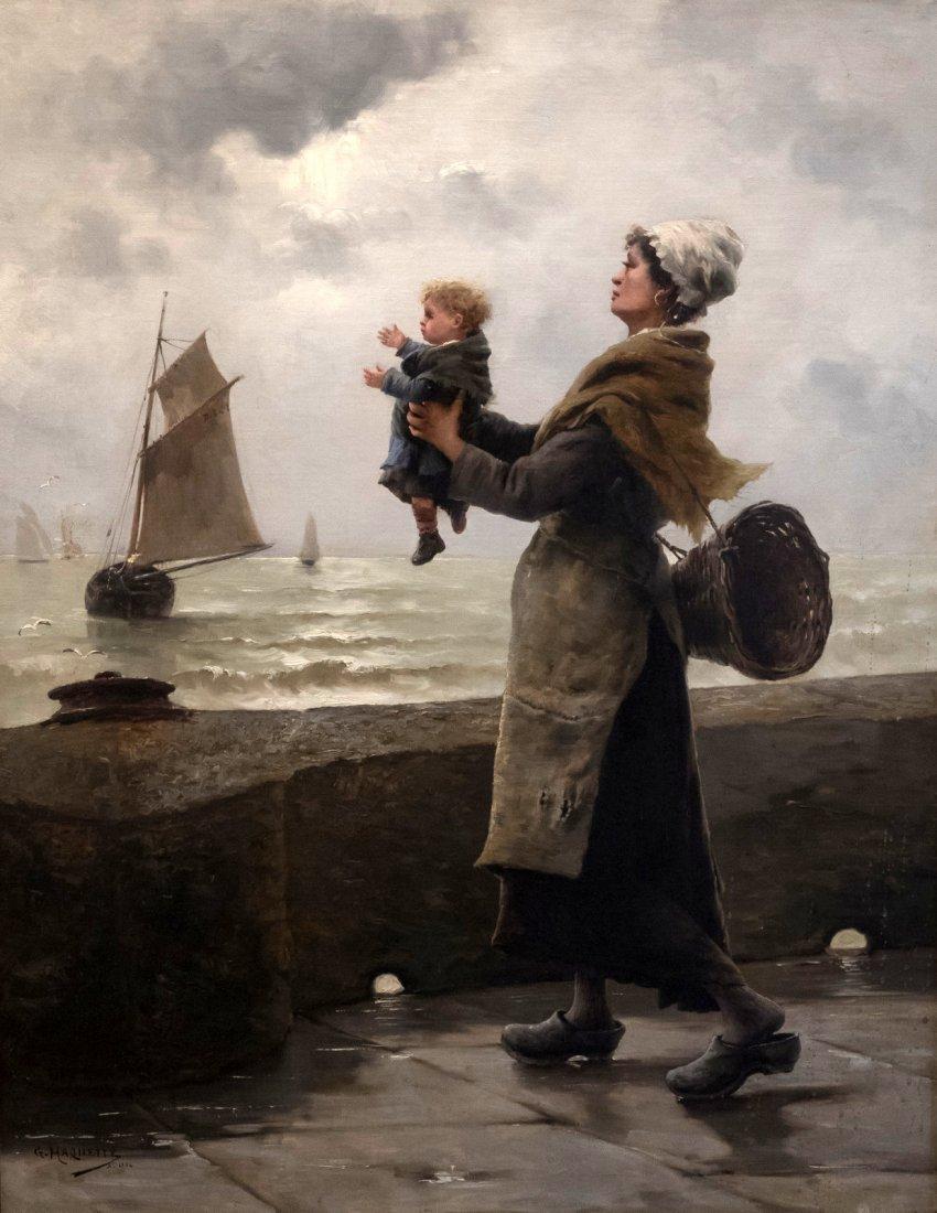 """GEORGES JEAN MARIE HAQUETTE (1854-1906) """"Le Depart """""""