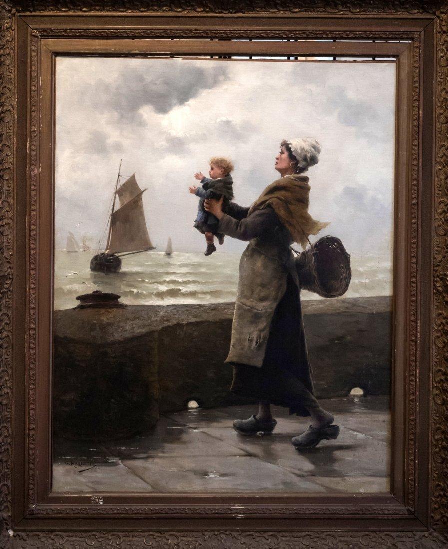 """GEORGES JEAN MARIE HAQUETTE (1854-1906) """"Le Depart """" - 2"""
