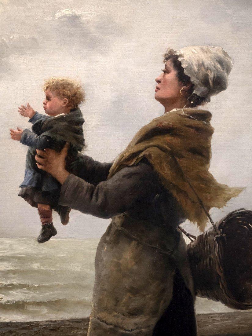 """GEORGES JEAN MARIE HAQUETTE (1854-1906) """"Le Depart """" - 3"""