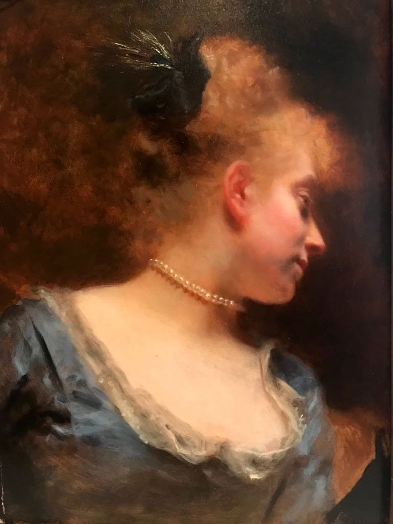 GUSTAVE J JACQUET(1846-1909)Portrait of Lady with pearl - 2
