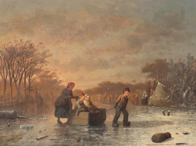 JOHANN MONGEL CULVERHOUSE (1820-1925) Skating in Delft