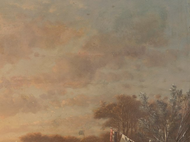 JOHANN MONGEL CULVERHOUSE (1820-1925) Skating in Delft - 3