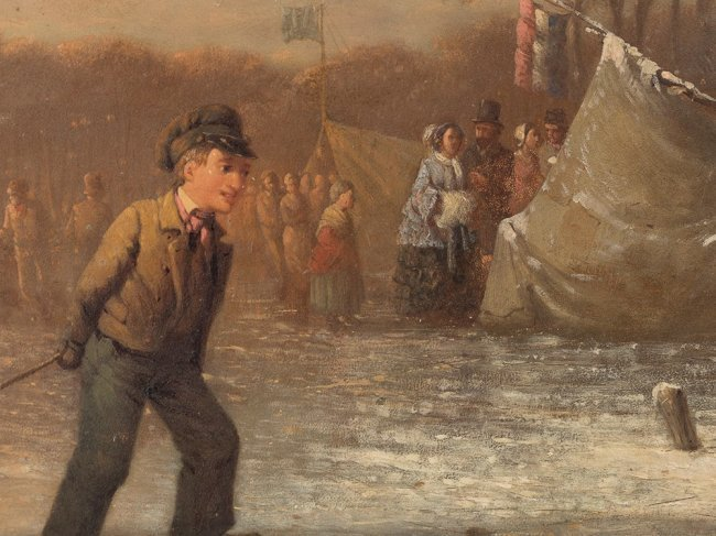 JOHANN MONGEL CULVERHOUSE (1820-1925) Skating in Delft - 5