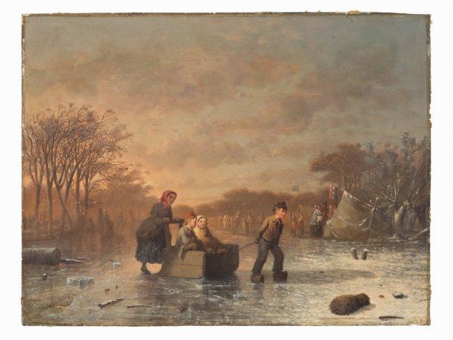 JOHANN MONGEL CULVERHOUSE (1820-1925) Skating in Delft - 6