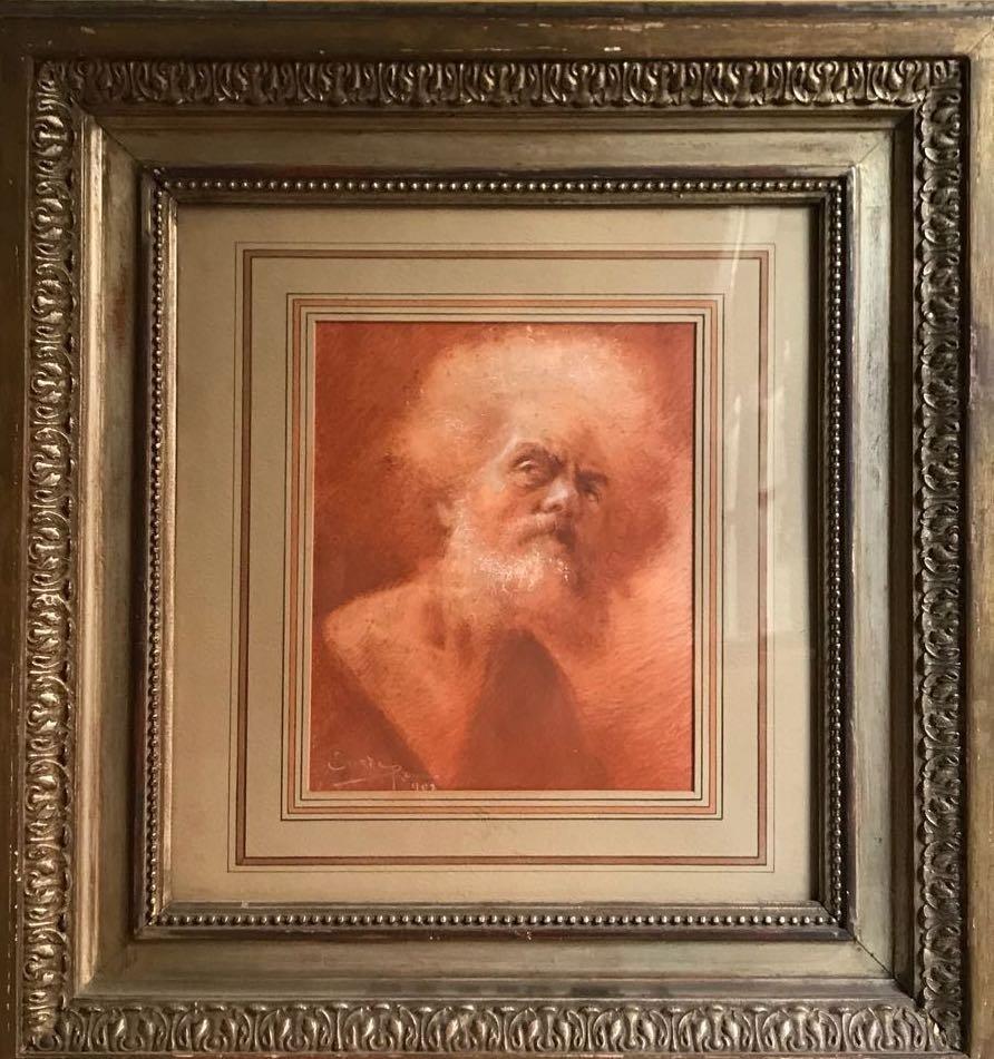 ITALIAN ILLEGIBLE. Old Man Portrait