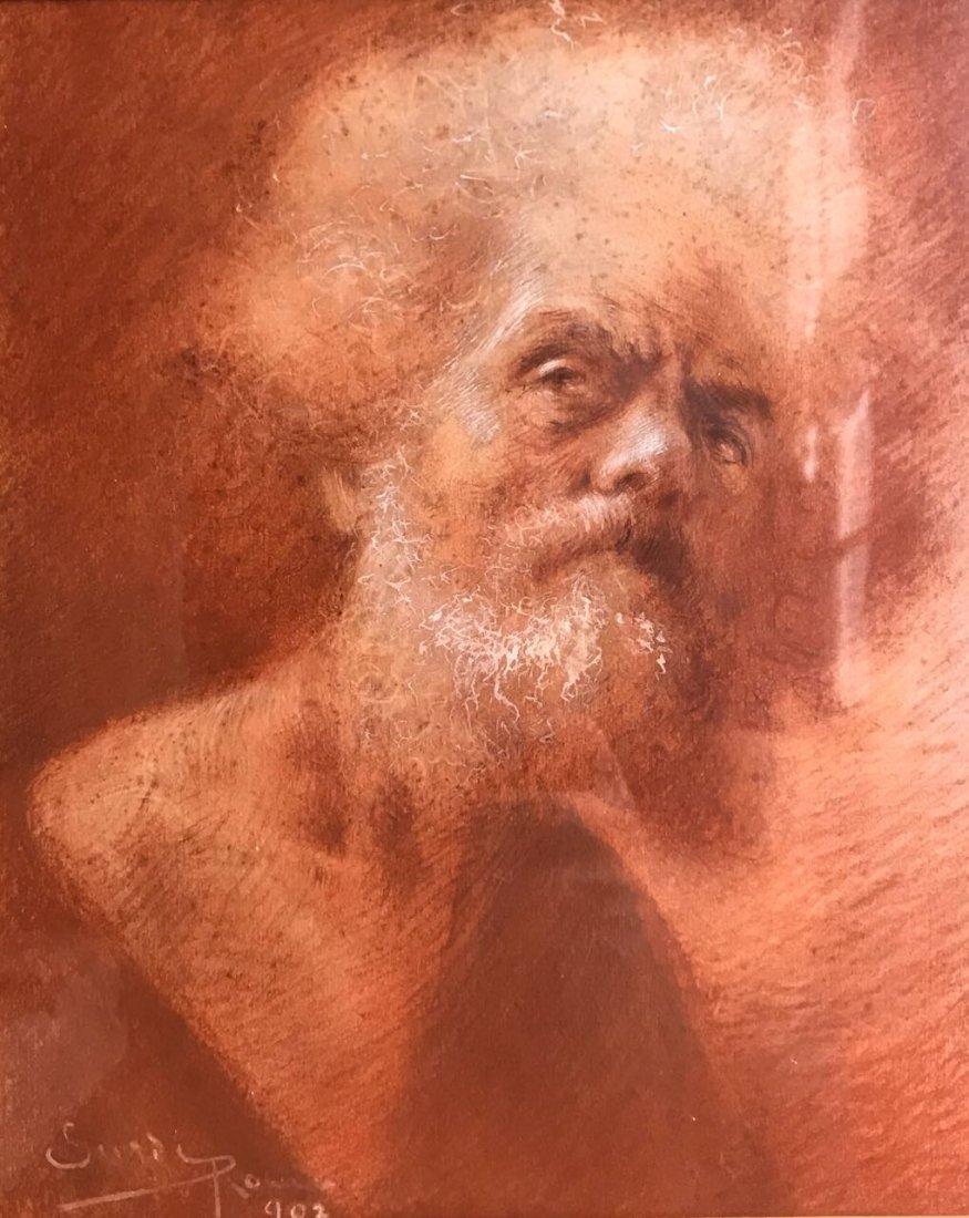 ITALIAN ILLEGIBLE. Old Man Portrait - 2