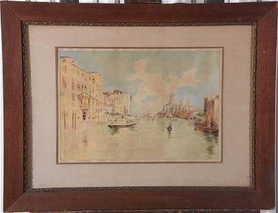 XX CENTURY Illegible Venice Canal Watercolour