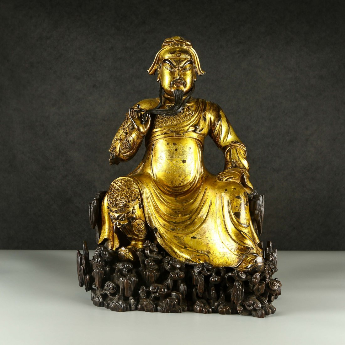 A Large Gilt Bronze Figure Of Buddha With Base