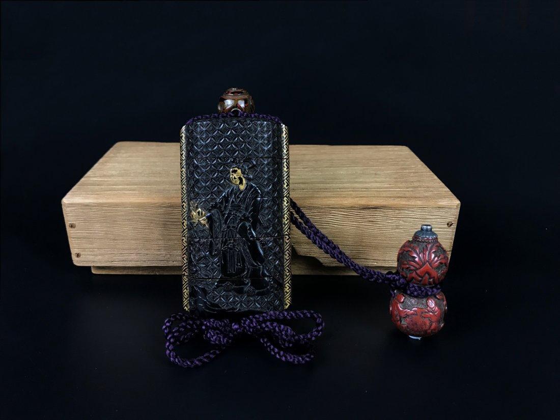 Black Cinnabar Seal Box with Red Cinnabar Double Gourd