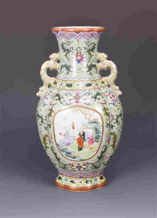 Chinese Famille Rose Porcelain Vase With Mark.