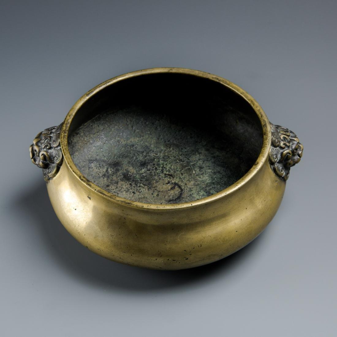 Chinse Lion Head Bronze Censer, Marked Xuande - 2