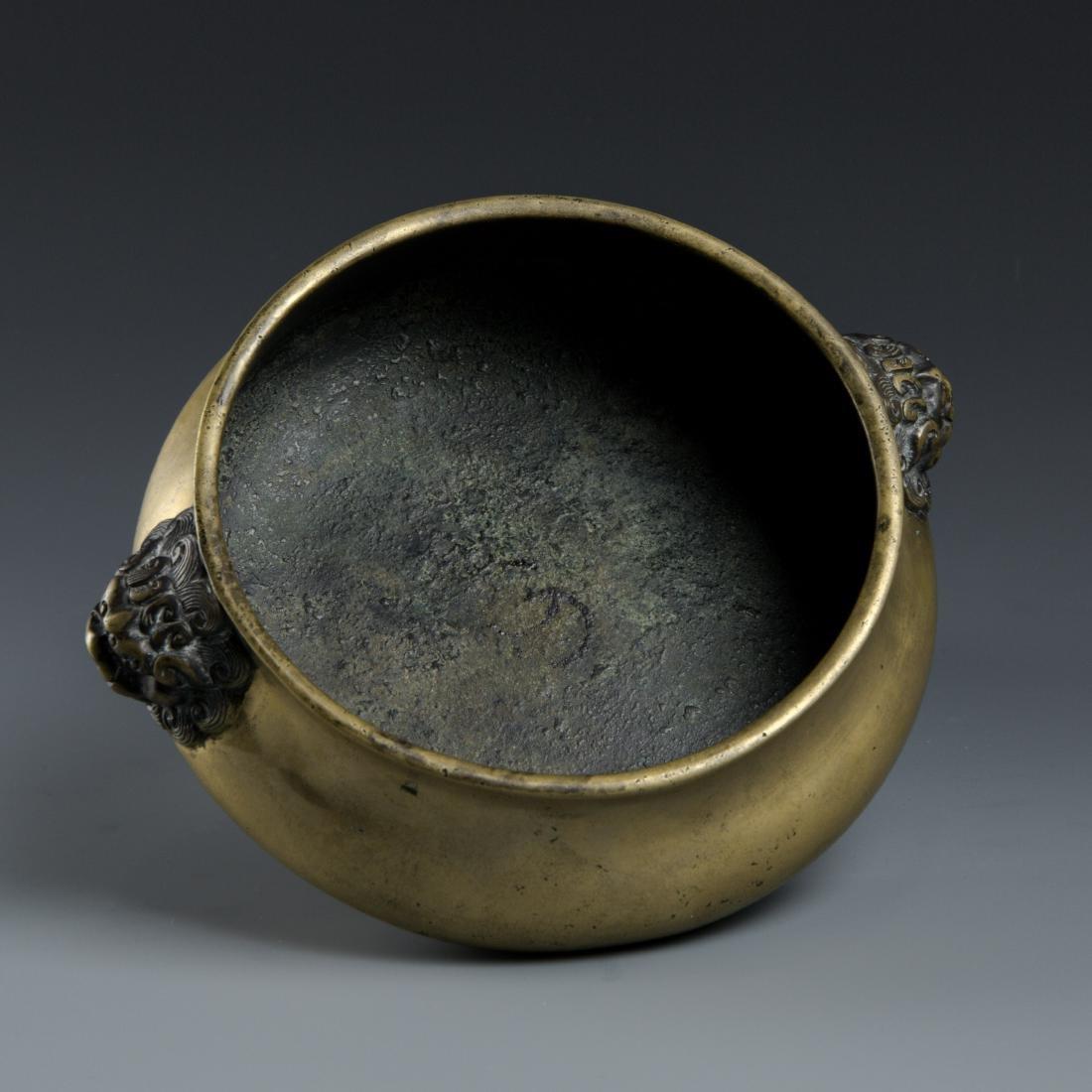 Chinse Lion Head Bronze Censer, Marked Xuande - 5