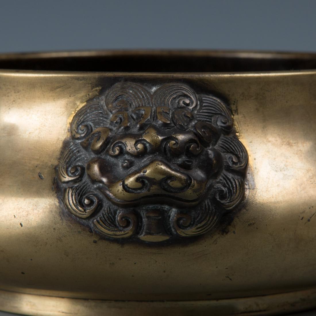Chinse Lion Head Bronze Censer, Marked Xuande - 6