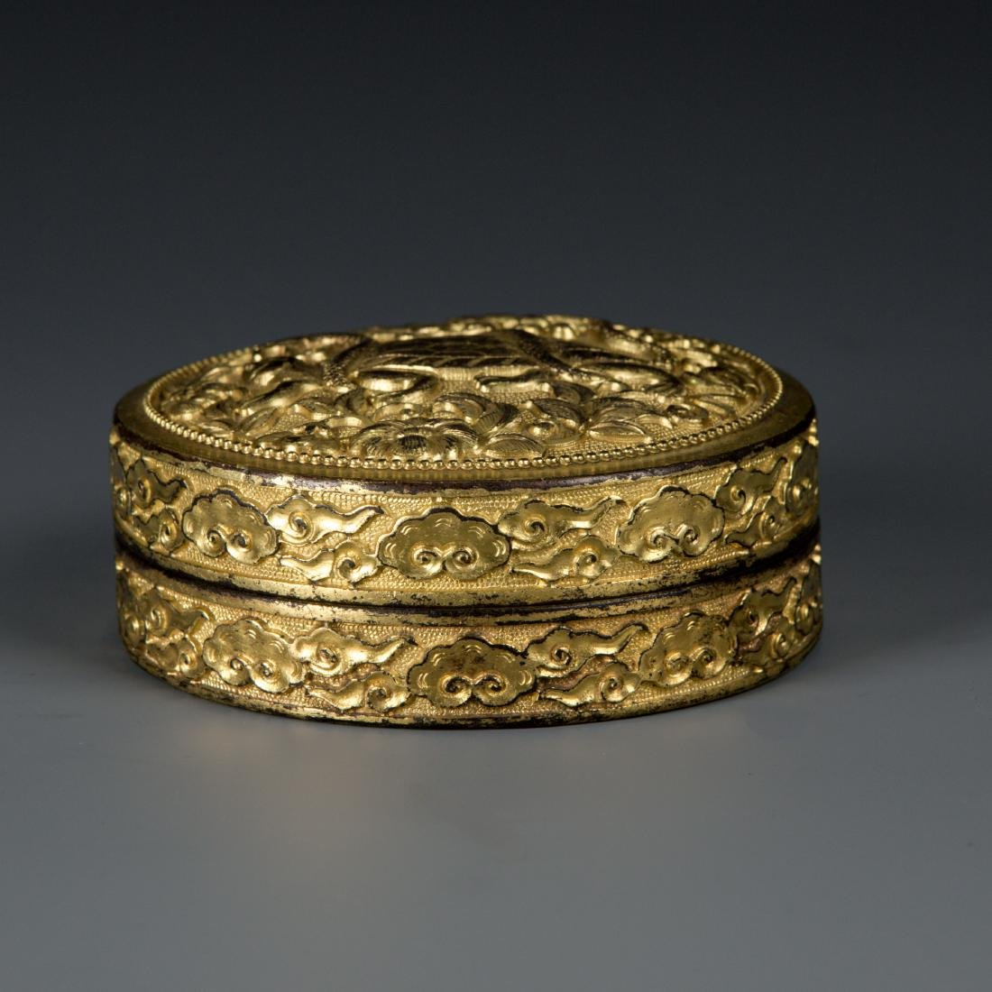 Round Gilt Bronze box with Turtle and Snake