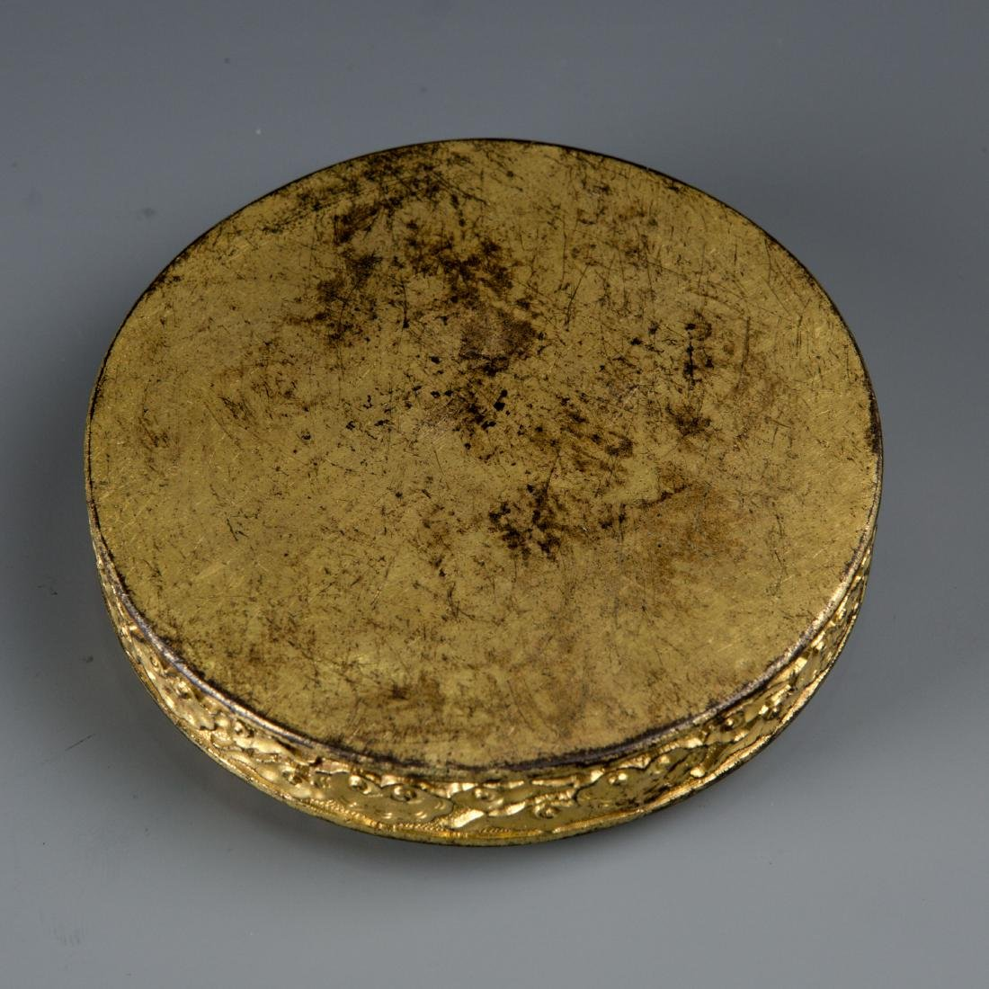 Round Gilt Bronze box with Turtle and Snake - 6