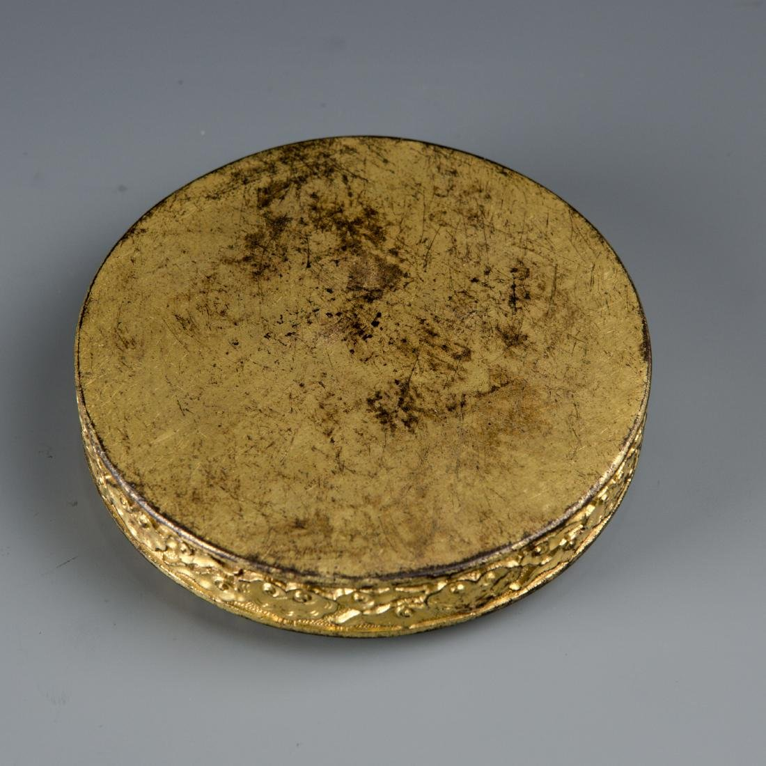 Round Gilt Bronze box with Turtle and Snake - 7