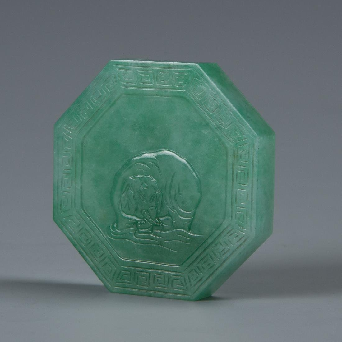 Octagon Shaped Jadeite  Pendent with Elephant Carving - 2