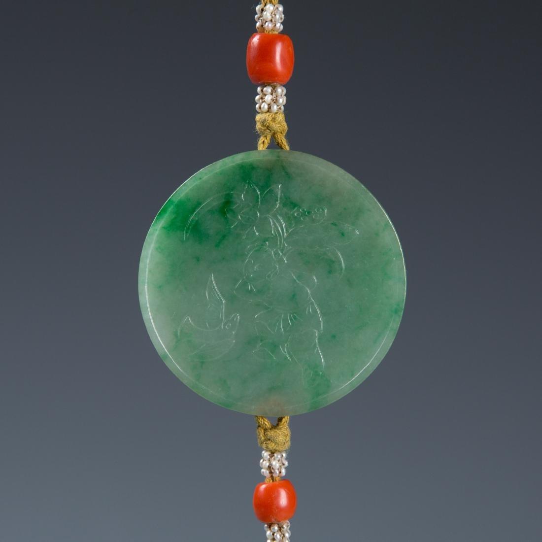 Jadeite disk on lanyard with tassel - 3
