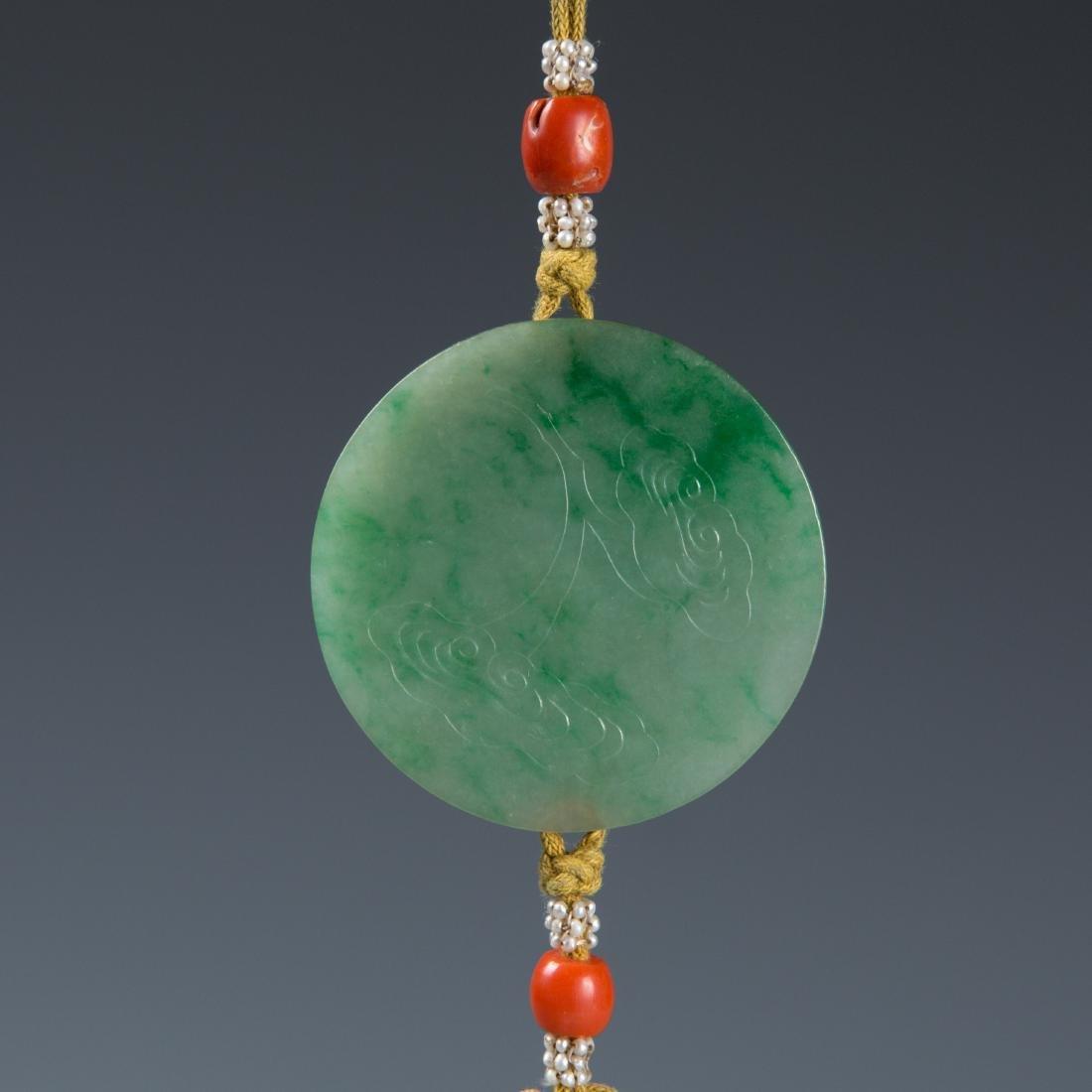 Jadeite disk on lanyard with tassel - 4