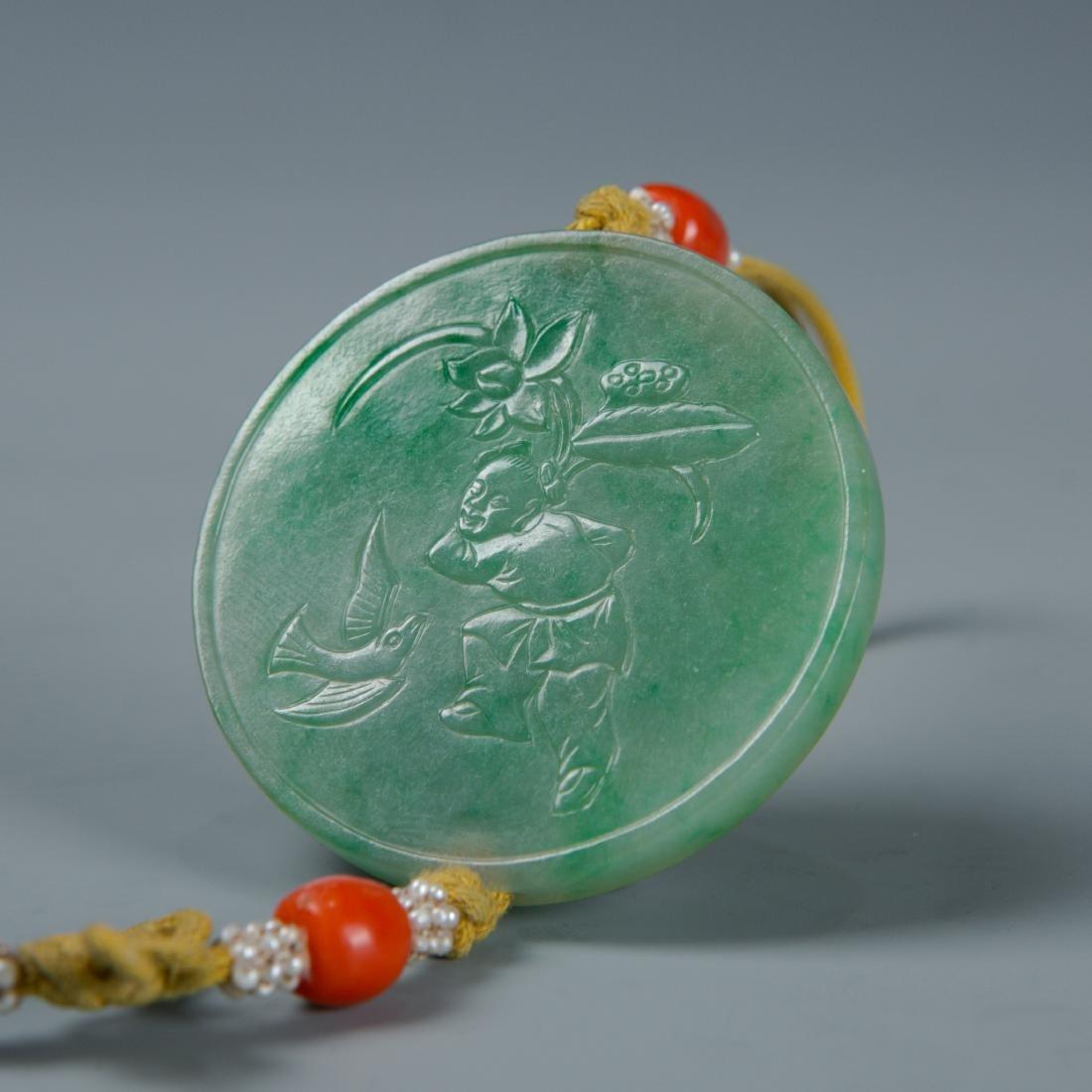 Jadeite disk on lanyard with tassel - 5