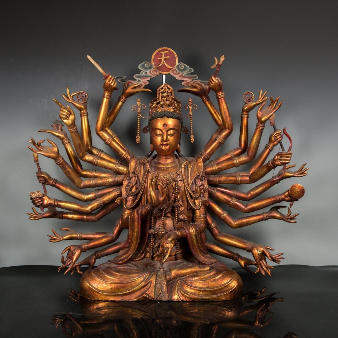 A Rare Large Gilt Lacquer Wood Figure of Avalokitesvara