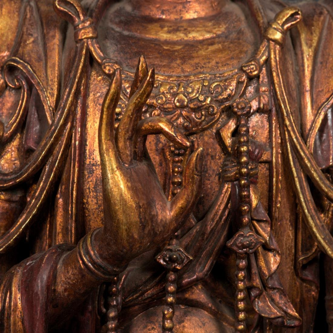 A Rare Large Gilt Lacquer Wood Figure of Avalokitesvara - 2