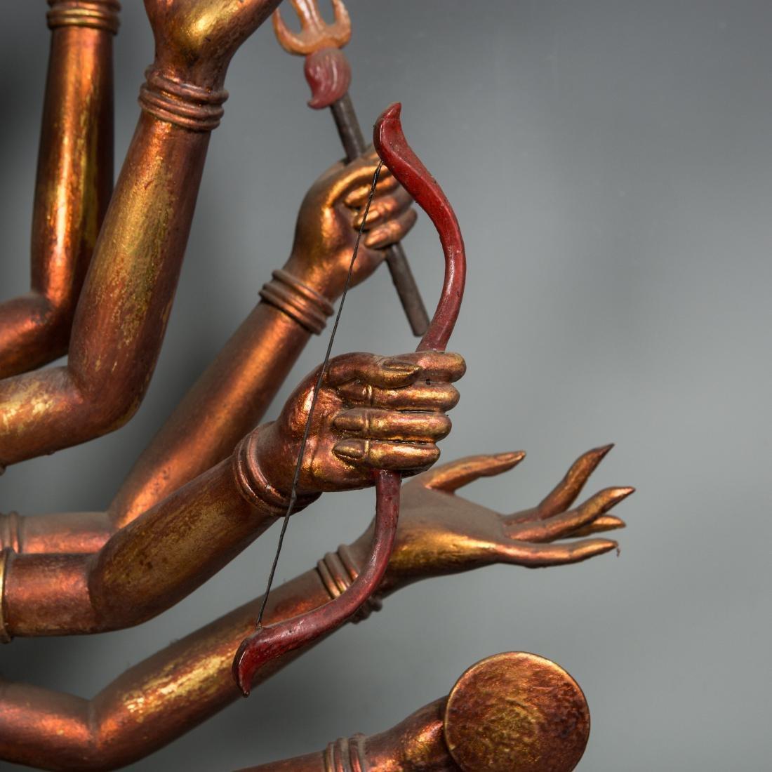 A Rare Large Gilt Lacquer Wood Figure of Avalokitesvara - 3