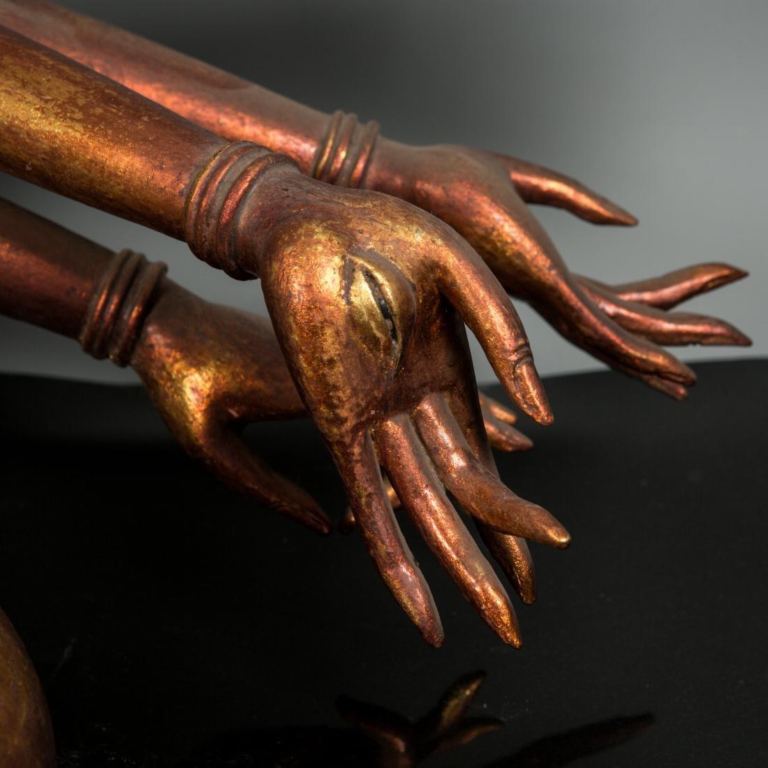 A Rare Large Gilt Lacquer Wood Figure of Avalokitesvara - 4