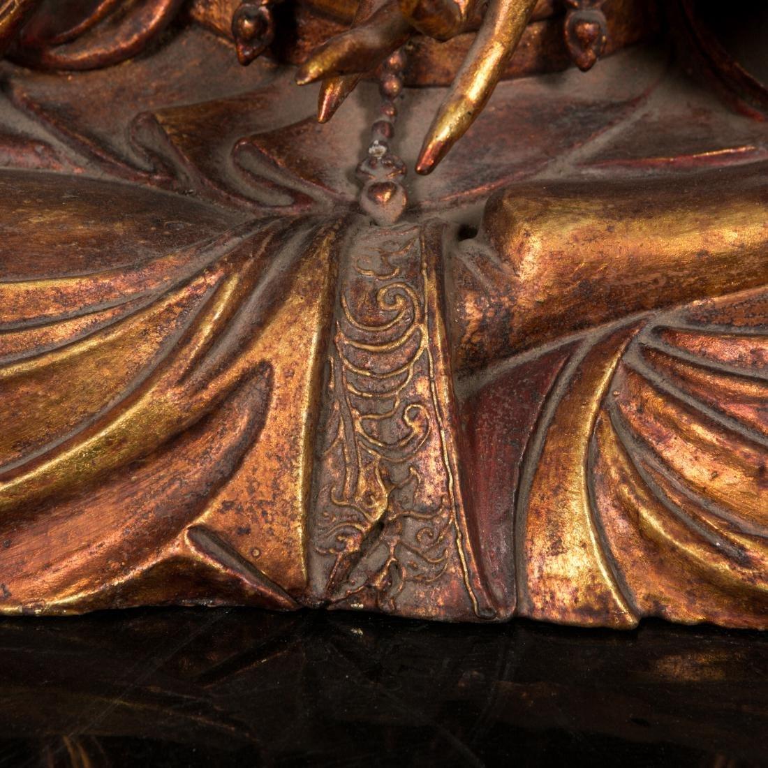 A Rare Large Gilt Lacquer Wood Figure of Avalokitesvara - 5