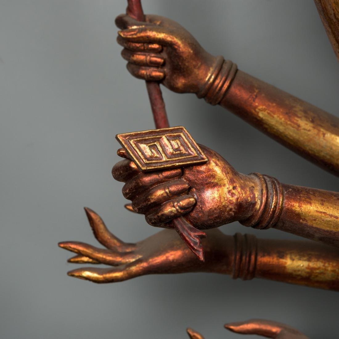 A Rare Large Gilt Lacquer Wood Figure of Avalokitesvara - 6