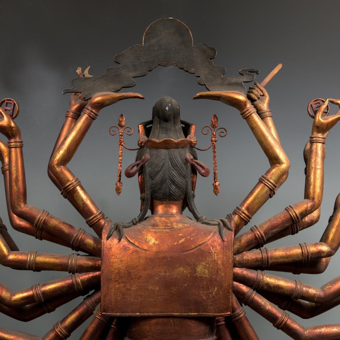 A Rare Large Gilt Lacquer Wood Figure of Avalokitesvara - 8