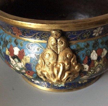 A Chinese Gilt-Bronze Cloisonne Enamel  Censer - 4