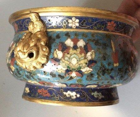 A Chinese Gilt-Bronze Cloisonne Enamel  Censer - 5