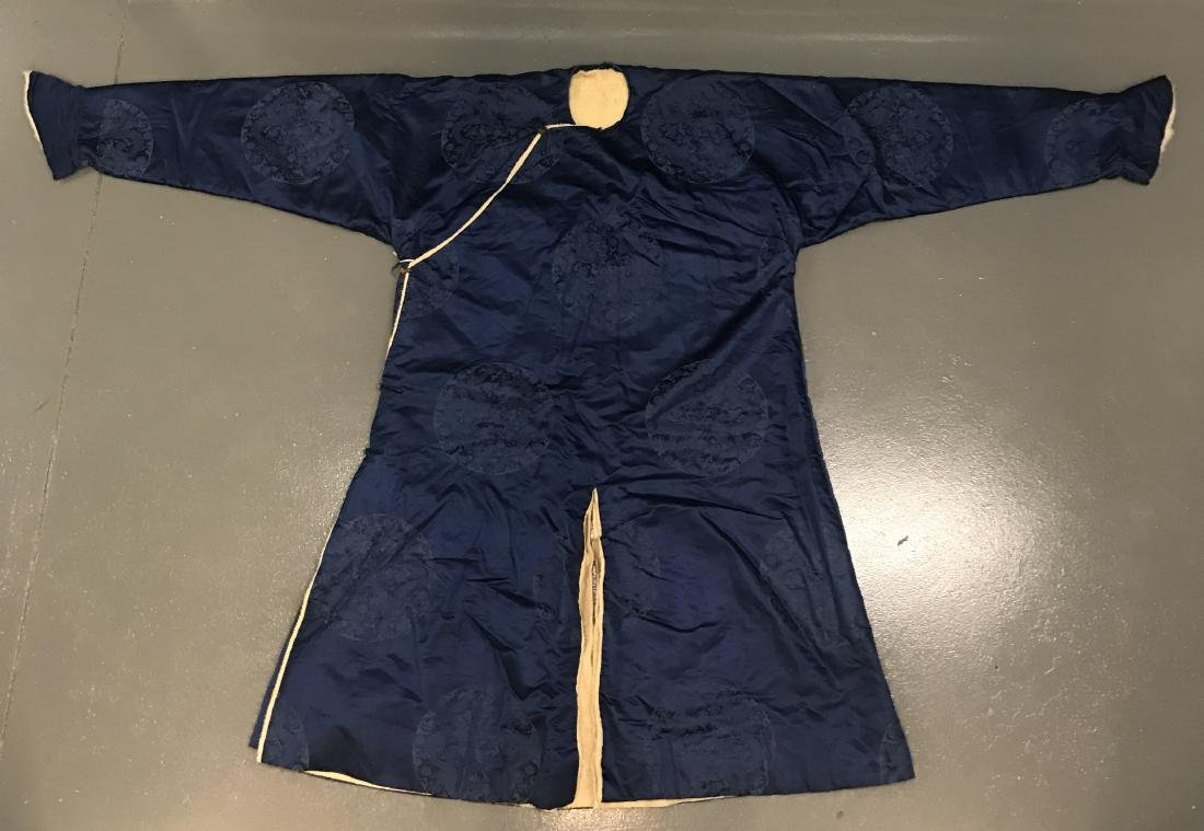 Chinese Blue Silk Dragon Embroidery Robe