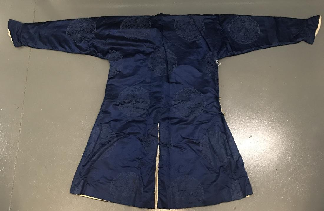 Chinese Blue Silk Dragon Embroidery Robe - 4