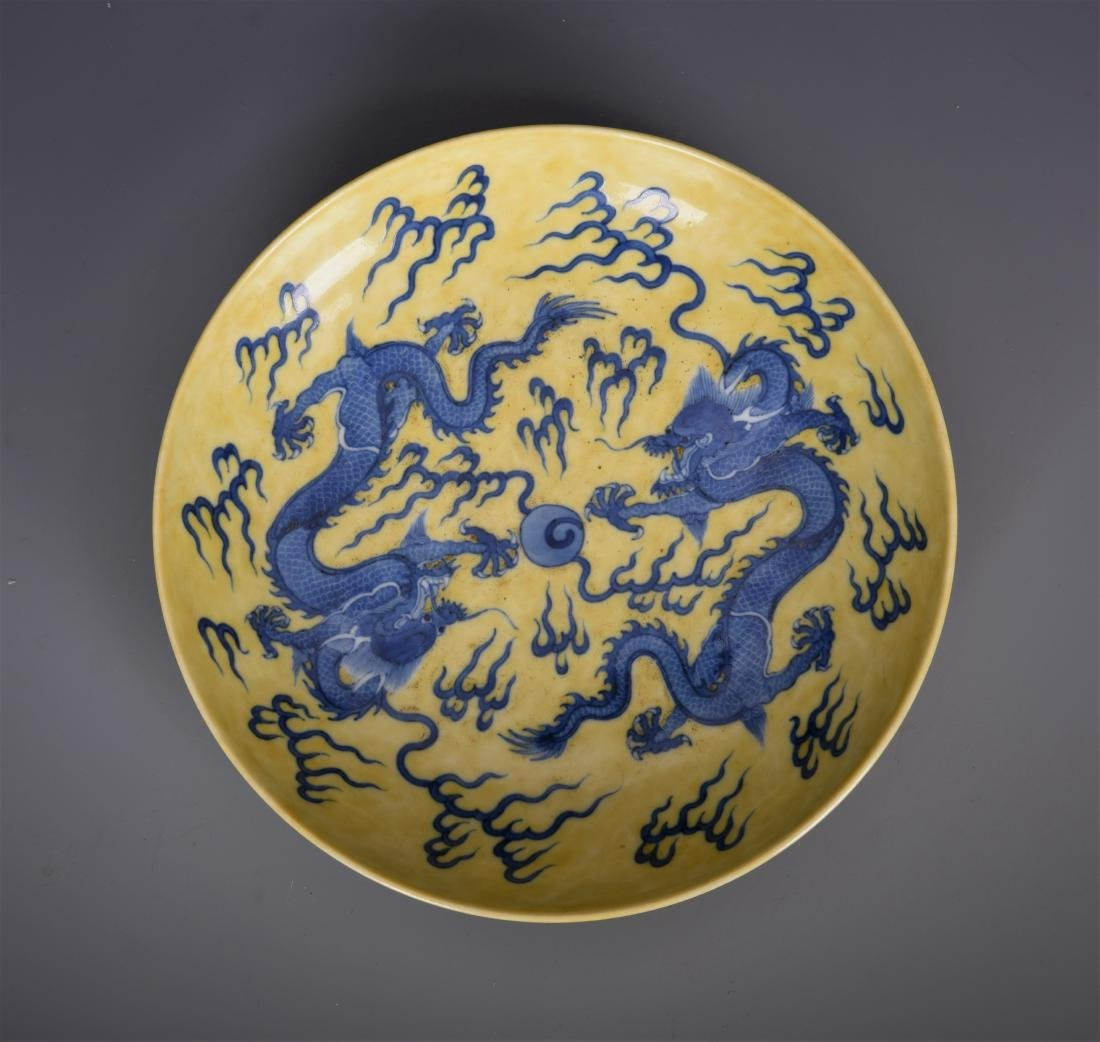 Yellow Glazed Five Toe Dragon Dish with Mark - 4