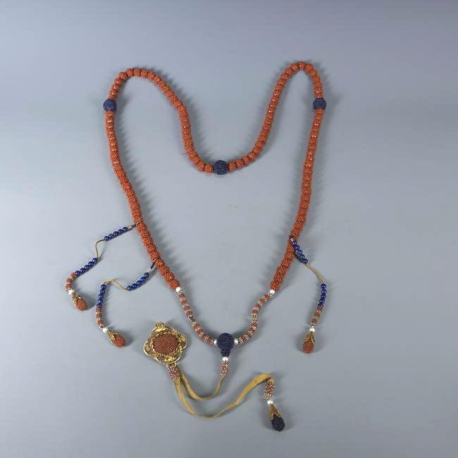 108 Bead Coral Covered Pearl Prayer Beads