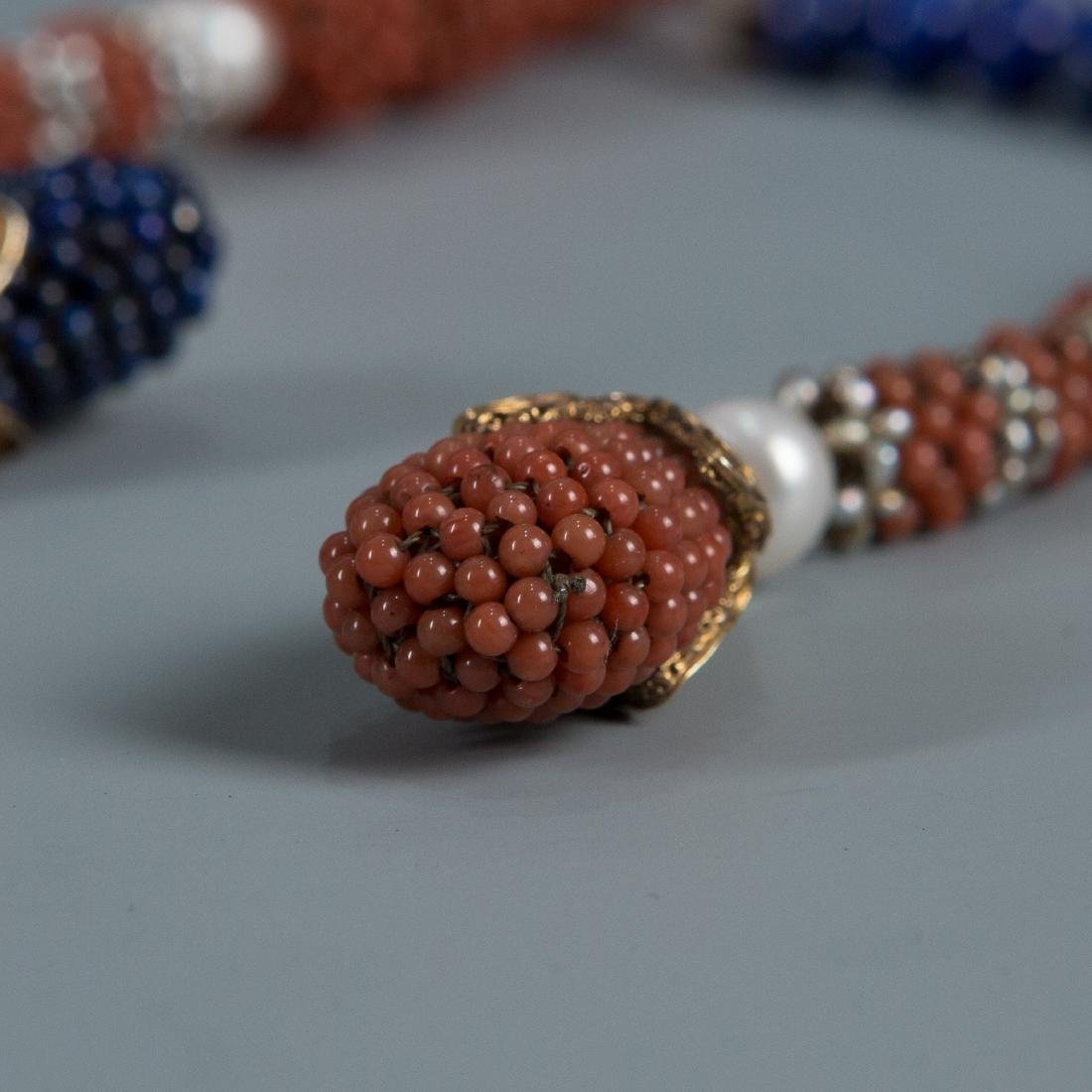 108 Bead Coral Covered Pearl Prayer Beads - 7