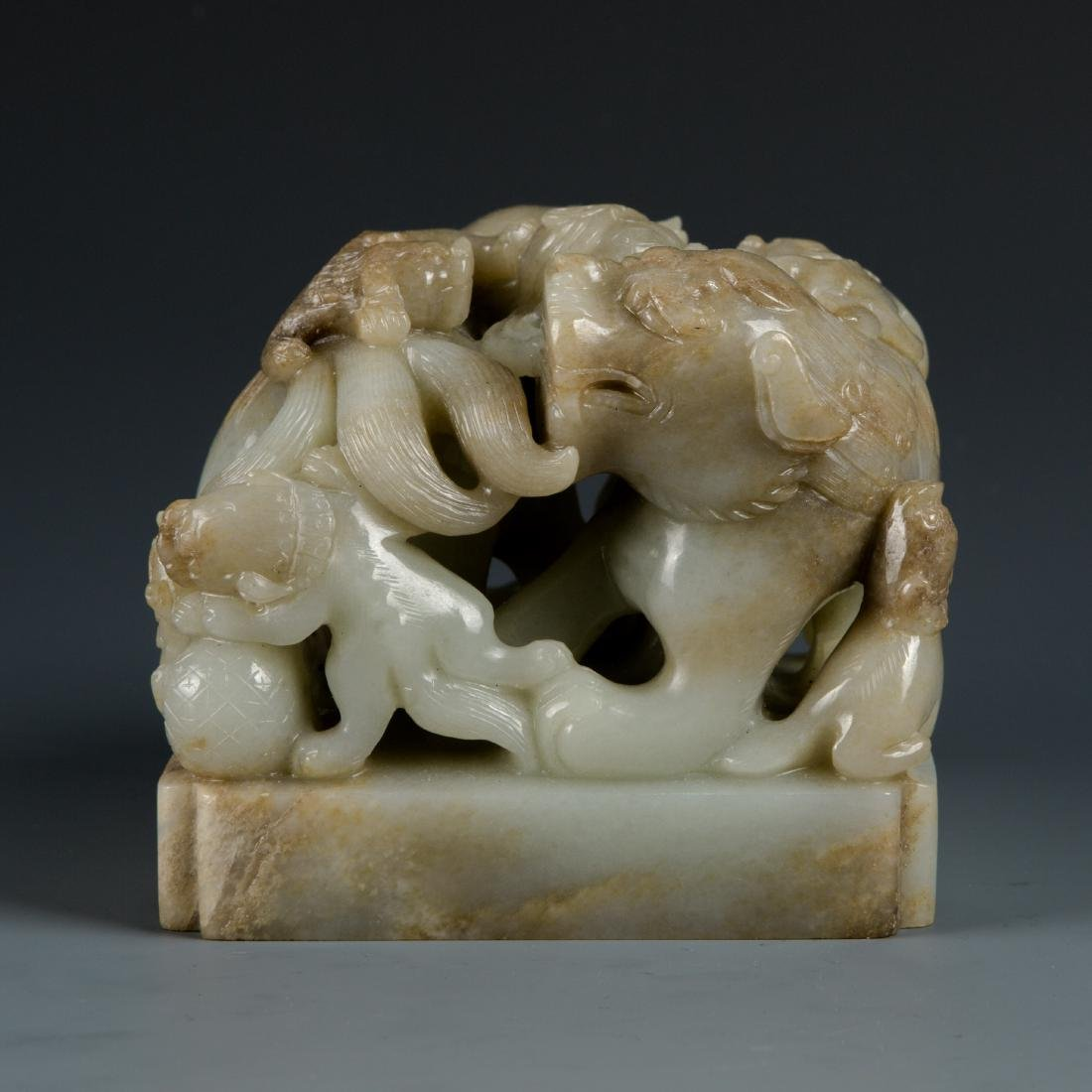 Jade Lion with Baby Seal
