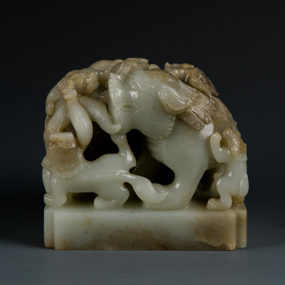 Jade Lion with Baby Seal - 4