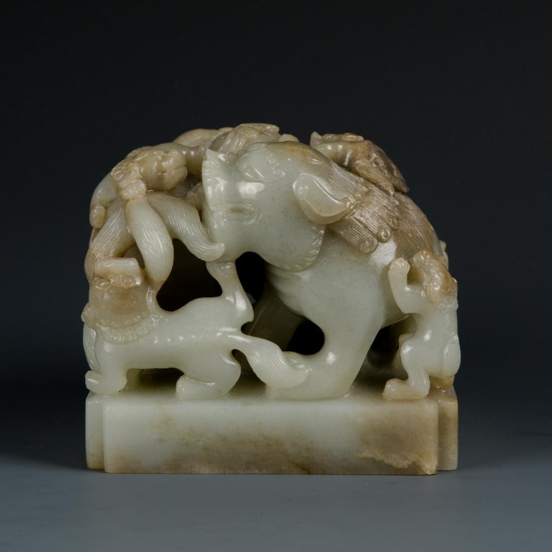 Jade Lion with Baby Seal - 5